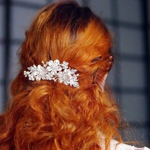 Wedding flower hair comb bridal white romantic